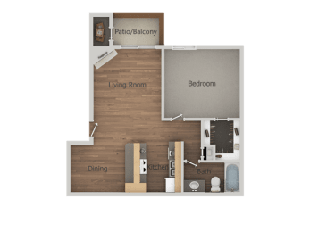 1 Bedroom 1 Bathroom Floor Plan at Glen Oaks Apartments, Glendale, Arizona