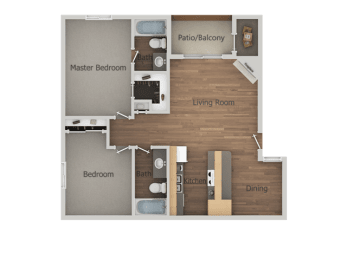 2 bedroom 2 bath Floor Plan at Glen Oaks Apartments, Glendale, 85301
