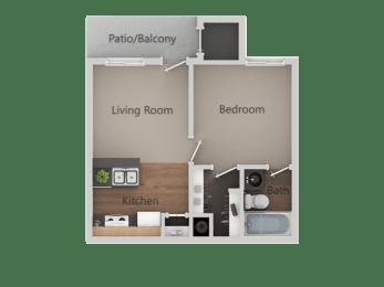 One Bed One Bath Floor Plan at Cimarron Place Apartments, Arizona, 85712