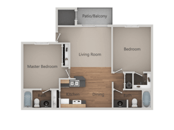 Two Bed Two Bath Floor Plan at Cimarron Place Apartments, Tucson, 85712