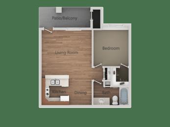 1 Bed 1 Bath Floor Plan at Rio Seco Apartments, Tucson