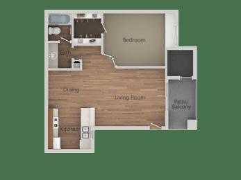 1 Bedroom 1 Bathroom Floor Plan at Rio Seco Apartments, Arizona