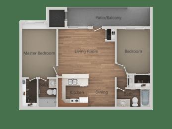 2 Bedroom 2 Bathroom Floor Plan at Rio Seco Apartments, Tucson, AZ, 85746
