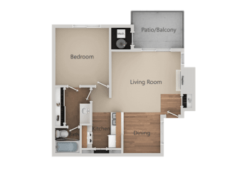 1 Bed 1 Bath Floor Plan at Edgewater Isle Apartments & Townhomes, Hanford, CA