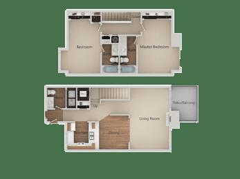 2 Bed 2.5 Bathroom Floor Plan at Edgewater Isle Apartments & Townhomes, Hanford