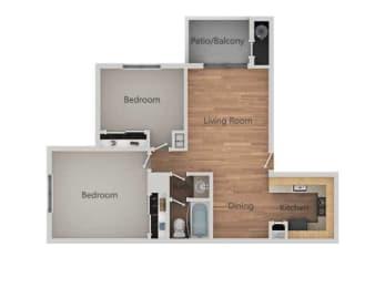 2 Bedroom 1 Bath Floor Plan at Bent Tree Apartments, California, 95842