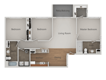 Three Bed Two Bath Floor Plan at Canyon Ridge Apartments, Surprise