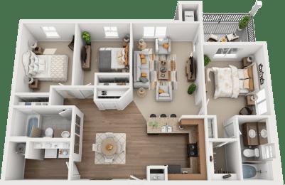 3 Bed, 2 Bath Floor Plan at Falls at Riverwoods Apartments & Townhomes, Utah