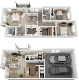 3 Bed, 2 Bath Floor Plan at Falls at Riverwoods Apartments & Townhomes, Logan, UT, 84321