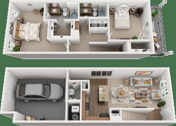 2 Bedroom 2 Bathroom Floor Plan at Falls at Riverwoods Apartments & Townhomes, Utah, 84321