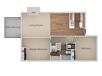 Two Bed One Bath Floor Plan at Heron Pointe Apartments & Townhomes, California, 93711