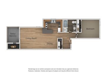 1 Bed 1 Bath Floor Plan at Aztec Springs Apartments, Mesa, AZ, 85207