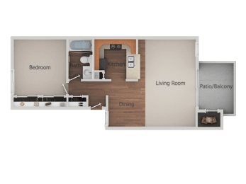 1 Bed 1 Bath Floor Plan at Canyon Club Apartments, Oceanside, CA, 92058