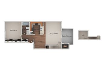 1 Bedroom 1 Bathroom Loft Floor Plan at Canyon Club Apartments, California, 92058