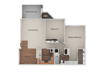 2 Bedroom 1 Bath Floor Plan at Canyon Club Apartments, California