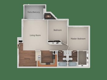 2 bedroom 2 bath Floor Plan at Canyon Club Apartments, Oceanside, CA