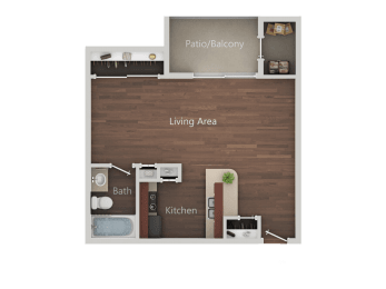 Studio_B Floor Plan at Eucalyptus GroveApartments, California, 91910