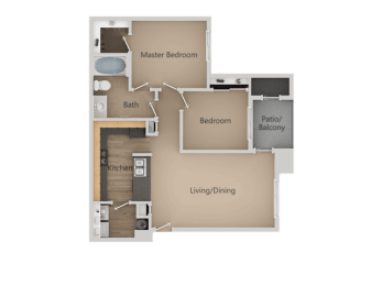 Two Bed One Bath Floor Plan at Four Seasons at Southtowne Apartments, South Jordan, Utah