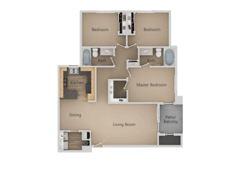 Three Bed Two Bath Floor Plan at Four Seasons at Southtowne Apartments, South Jordan, UT