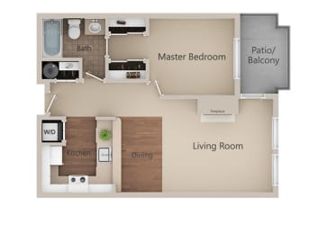 1 Bed 1 Bath Floor Plan at Metropolitan Place Apartments, Renton, Washington