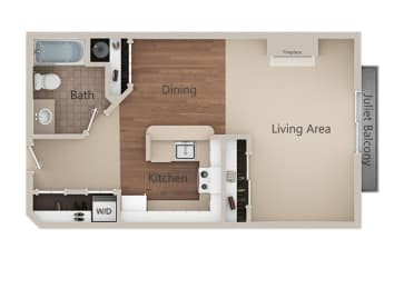 Studio  Floor Plan at Metropolitan Place Apartments, Renton, 98057