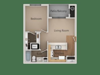 1 Bed 1 Bath Floor Plan at California Place Apartments, California, 95823
