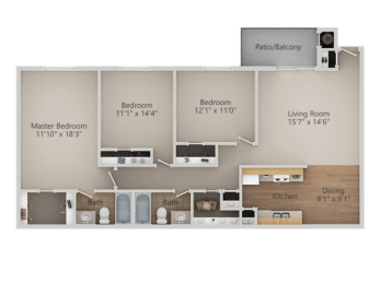 3 bedroom 2 bath Floor Plan at Courtyard at Central Park Apartments, Fresno, California