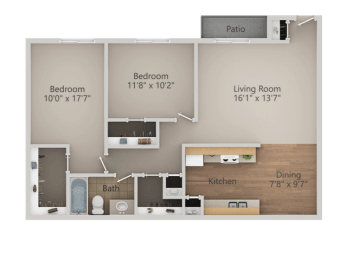 2 Bedroom 1 Bathroom Floor Plan at Courtyard at Central Park Apartments, Fresno, 93722