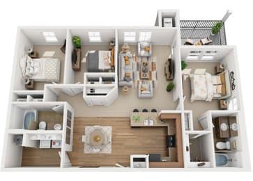 3X2A 3Bed_2Bath at Falls at Riverwoods Apartments & Townhomes, Logan, UT, 84321