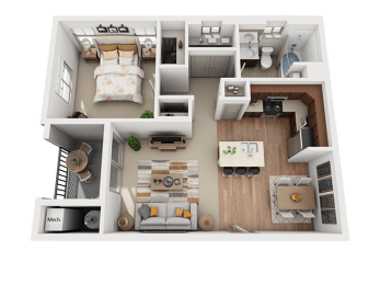 1 Bed 1 Bath Floor Plan at Four Seasons Apartments & Townhomes, Utah