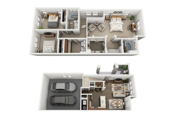 3 Bed, 2 Bath Floor Plan at Four Seasons Apartments & Townhomes, Utah