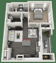 1 Bedroom 1 Bathroom Floor Plan at RivuletApartments, Utah