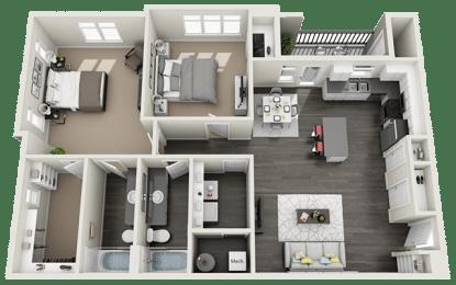 2 bedroom 2 bath Floor Plan at RivuletApartments, American Fork, UT, 84003