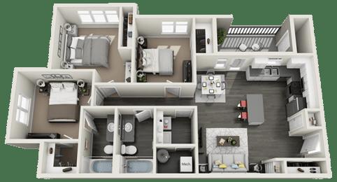 3 Bed, 2 Bath Floor Plan at RivuletApartments, American Fork, Utah