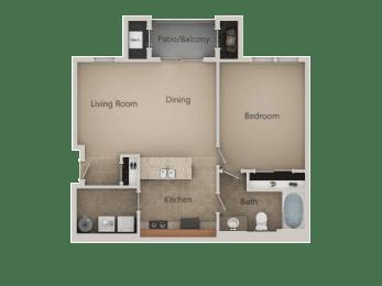 1 Bed 1 Bath Floor Plan at San Marino Apartments, South Jordan, Utah
