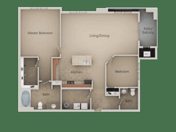 2 Bedroom 1 Bathroom Floor Plan at San Marino Apartments, Utah, 84095