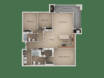 3 Bedroom and 2 Bath Floor Plan at San Marino Apartments, South Jordan