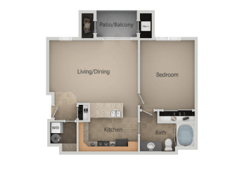 1 Bed 1 Bath Floor Plan at San Moritz Apartments, Utah, 84047