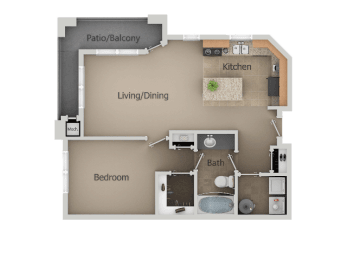 1 Bedroom 1 Bathroom Floor Plan at San Moritz Apartments, Midvale, UT, 84047