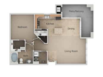 1 Bedroom 1 Bathroom Floor Plan at San Moritz Apartments, Midvale, 84047