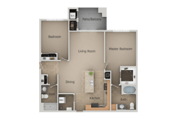 2 Bedroom 2 Bathroom Floor Plan at San Moritz Apartments, Midvale