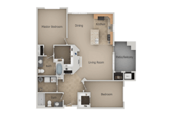 Two Bed Two Bath Floor Plan at San Moritz Apartments, Utah