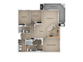 Three Bed Two Bath Floor Plan at San Moritz Apartments, Utah, 84047