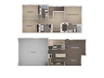 3 bedroom 2 bath Floor Plan at Talavera at the Junction Apartments & Townhomes, Midvale, 84047