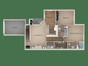 2 Bedroom 2 Bathroom Floor Plan at Trailside Apartments, Parker, 80134