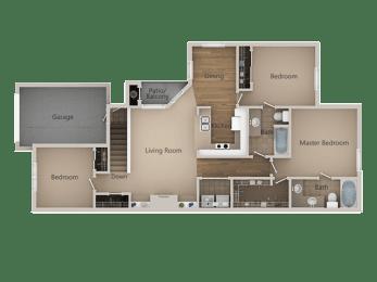 2 Bedroom 2 Bathroom Floor Plan at Trailside Apartments, Parker, Colorado