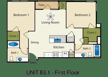 Floor Plan 2X2 A