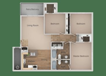 3 bedroom 2 bath Floor Plan at RemingtonApartments, Midvale, 84047