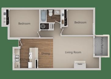 2 Bedroom 1 Bath Floor Plan at River Oaks Apartments & Townhomes, Hanford, California
