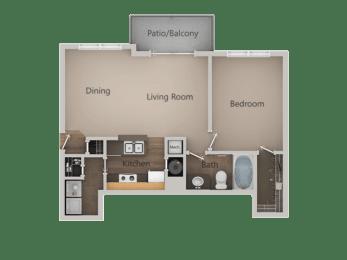 1 Bed 1 Bath Floor Plan at PinehurstApartments, Midvale, UT, 84047, opens a dialog